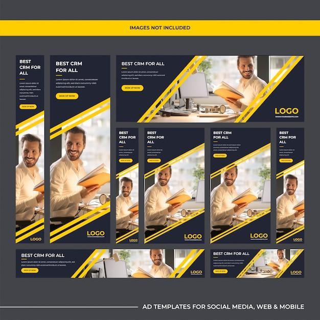 Modèles d'annonces modernes pour entreprises logicielles polyvalentes pour le marketing numérique Vecteur Premium