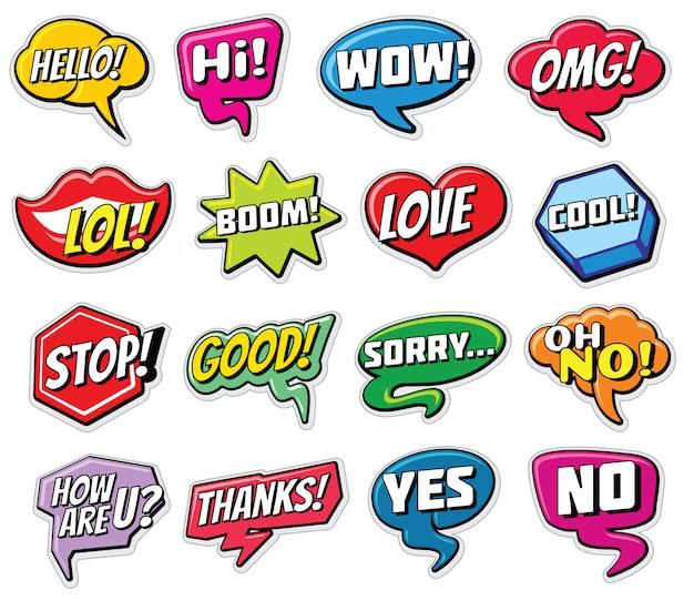 Modèles d'autocollants de discussion web. bulles de mots internet isolés. Vecteur Premium