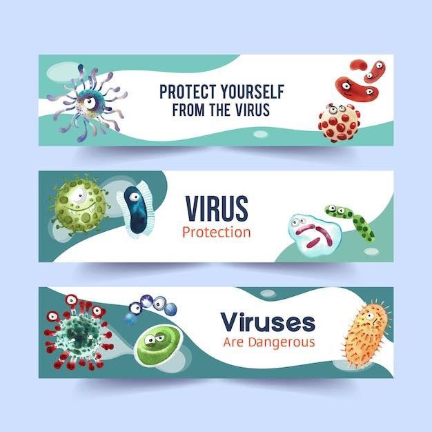 Modèles De Bannière De Protection Contre Les Virus Dans Un Style Aquarelle Vecteur gratuit