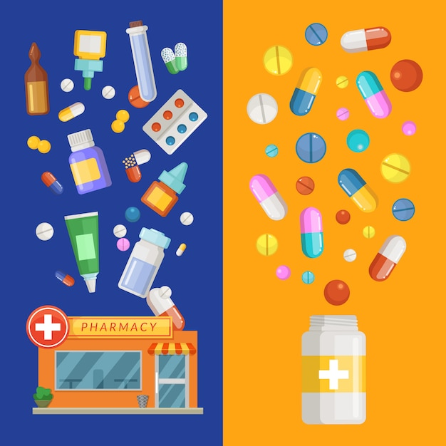 Modèles de bannière verticale de médicaments avec des médicaments et des pilules s'étalant de la pharmacie et de la bouteille. Vecteur Premium