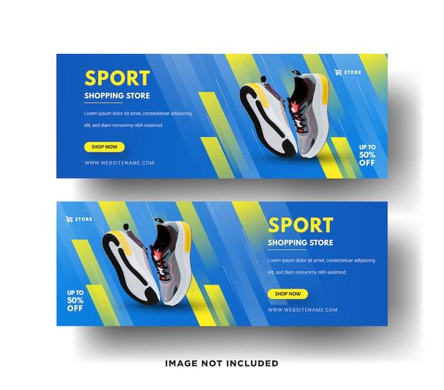 Modèles De Bannières Web Modernes. Vente De Chaussures De Sport Vecteur Premium