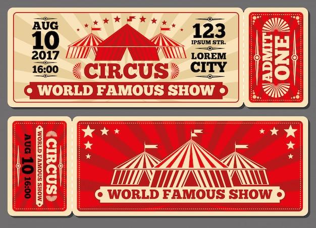 Modèles de billets d'entrée au spectacle de magie du cirque Vecteur Premium
