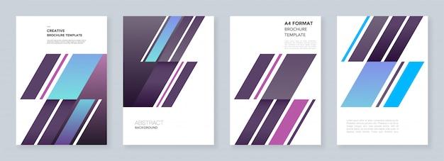 Modèles de brochure minimes. abstrait avec des formes dynamiques en diagonale dans un style minimaliste. modèles pour flyer, dépliant, brochure, rapport, présentation, publicité. Vecteur Premium