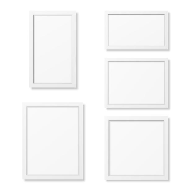 Modèles De Cadre Photo Vierge Réaliste Sur Fond Blanc. Vecteur Premium