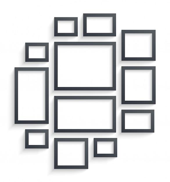 Modèles de cadres photo mur isolés sur fond blanc Vecteur Premium