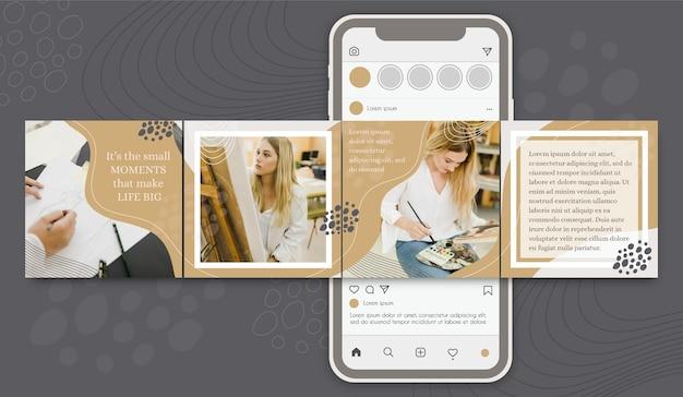 Modèles De Carrousel Post Instagram De Motivation Vecteur gratuit