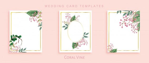 Modèles de carte de mariage élégant Vecteur Premium