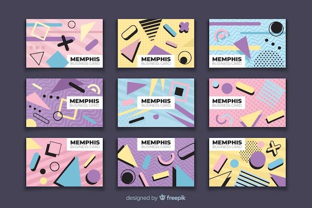 Modèles de cartes de visite de style memphis Vecteur gratuit