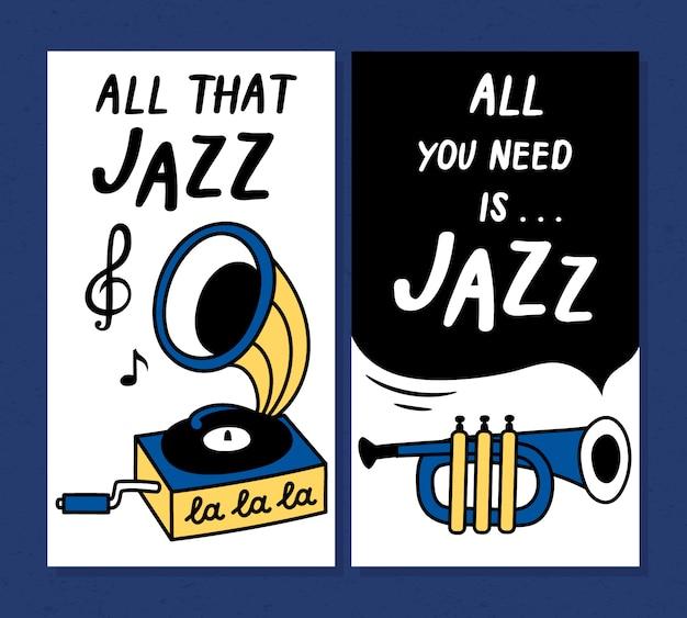 Modèles de conception d'affiches et de bannières pour le festival de musique jazz Vecteur Premium