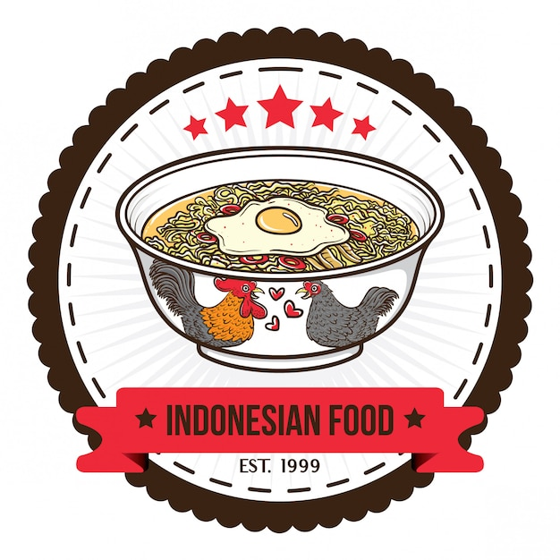 Modèles de conception de badge de nouilles alimentaires indonésien Vecteur Premium