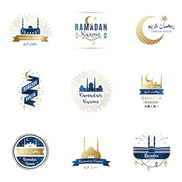 Modèles de conception définis pour ramadan kareem. Vecteur Premium