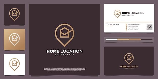 Modèles De Conception De Logo De Localisation De Maison De Luxe Et Conception De Cartes De Visite Vecteur Premium