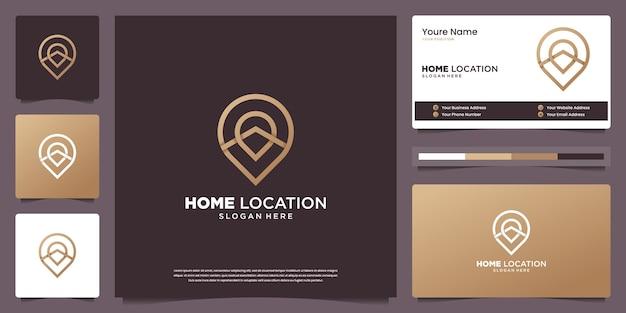 Modèles De Conception De Logo De Luxe Minimal à Domicile Et Conception De Cartes De Visite Vecteur Premium