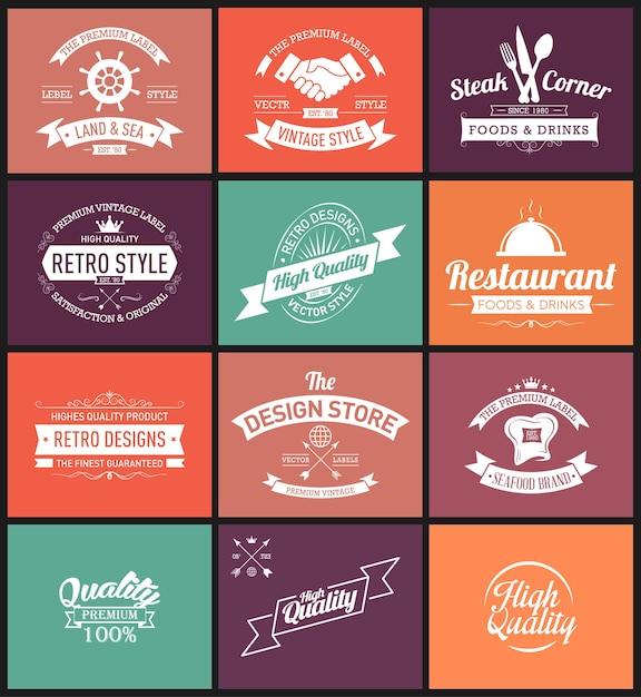 Modèles de conception de logos vintage Vecteur Premium