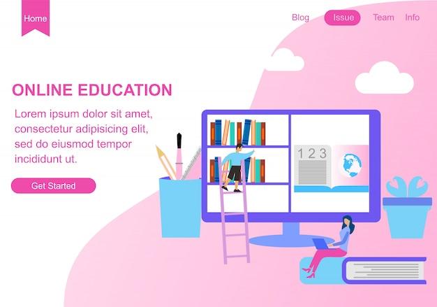 Modèles de conception de pages web pour l'éducation Vecteur Premium