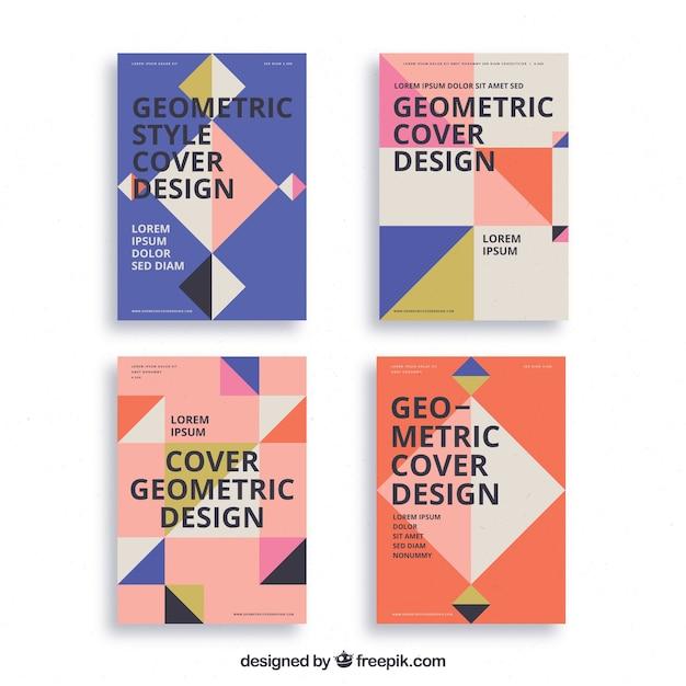 Modèles de couverture abstraite avec un design géométrique Vecteur gratuit
