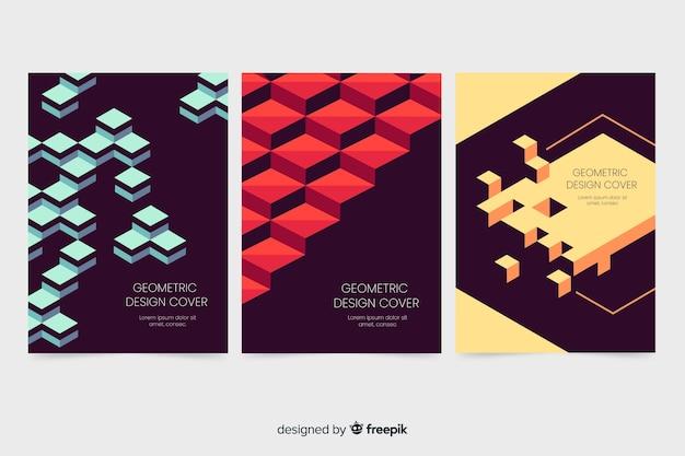 Modèles de couverture de conception avec des formes géométriques Vecteur gratuit