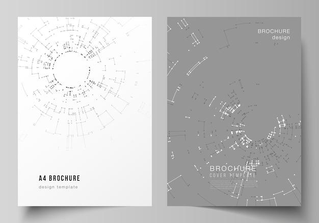 Modèles de couverture de format a4 pour brochure, concept de connexion réseau Vecteur Premium