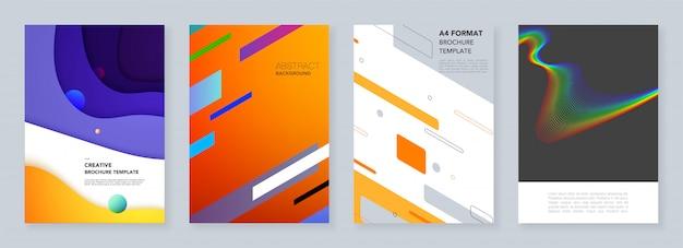 Modèles de couverture minimale avec des motifs géométriques Vecteur Premium