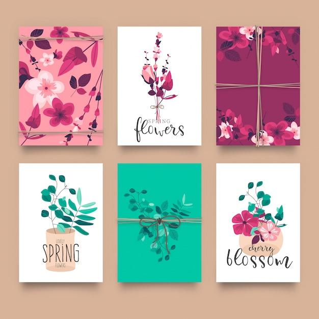 Modèles de cartes florales mignons Vecteur gratuit