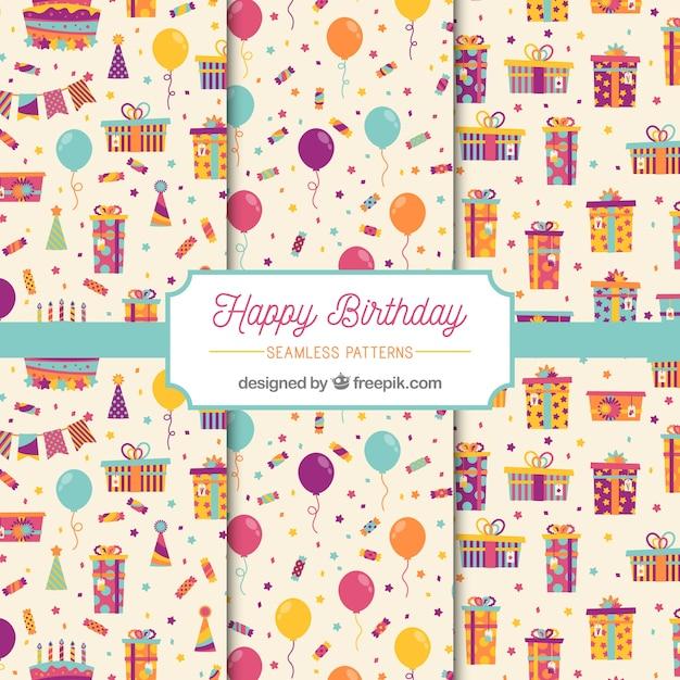 Modèles de joyeux anniversaire Vecteur gratuit