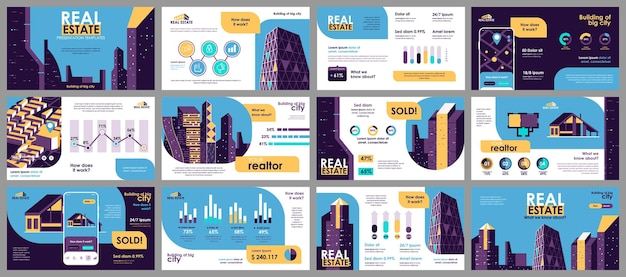 Modèles De Diapositives De Présentation Immobilière à Partir D'éléments Infographiques Vecteur Premium