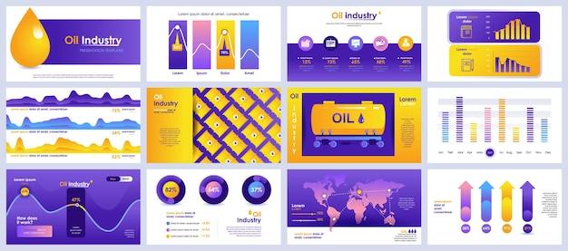 Modèles De Diapositives De Présentation De L'industrie Pétrolière à Partir D'éléments Infographiques Vecteur Premium