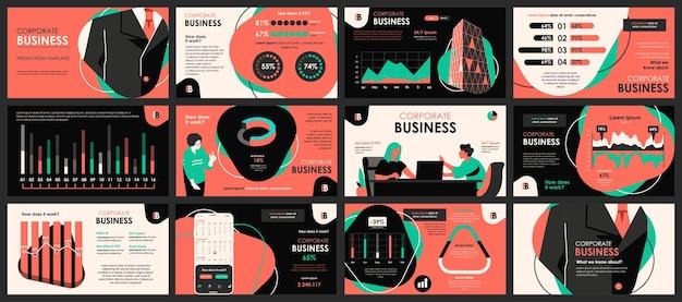 Modèles De Diapositives De Présentation De Réunion D'affaires à Partir D'éléments Infographiques Vecteur Premium
