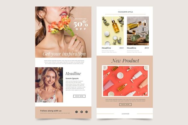 Modèles D'e-mails De Commerce électronique Avec Ensemble De Photos Vecteur gratuit