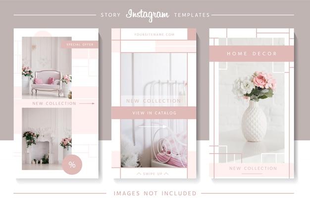 Modèles élégants D'histoires Instagram Roses. Vecteur Premium