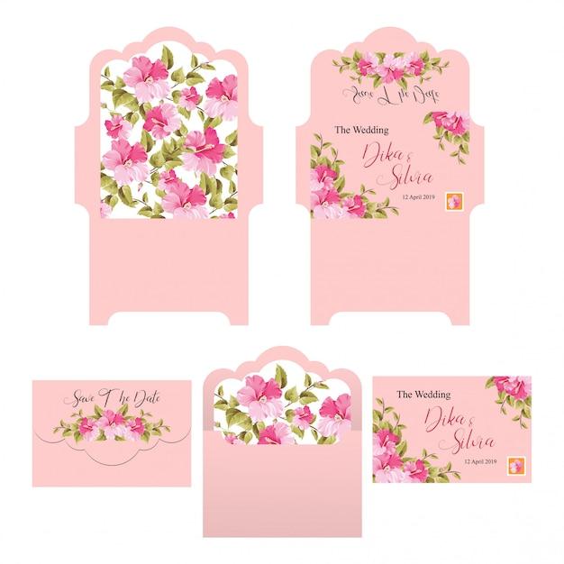 Modèles d'enveloppe d'invitation de mariage avec des arrière-plans roses Vecteur Premium