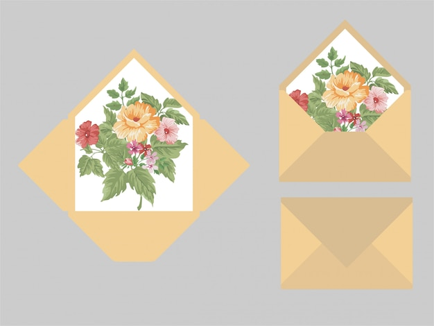 Modèles d'enveloppe invitation de mariage moderne Vecteur Premium