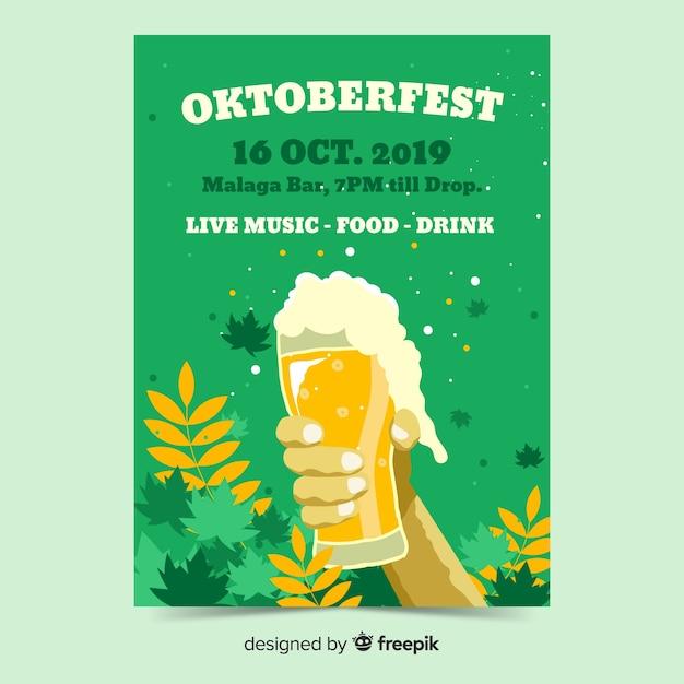 Modèles de flyer oktoberfest dessinés à la main Vecteur gratuit
