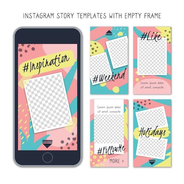 Modèles d'histoires instagram avec cadre vide Vecteur gratuit