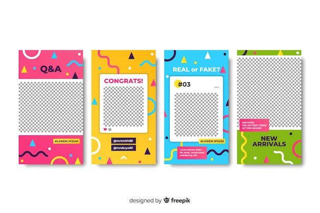 Modèles d'histoires instagram colorés Vecteur gratuit