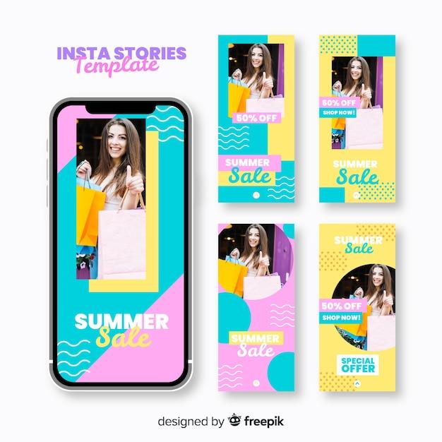 Modèles d'histoires instagram avec soldes d'été Vecteur gratuit