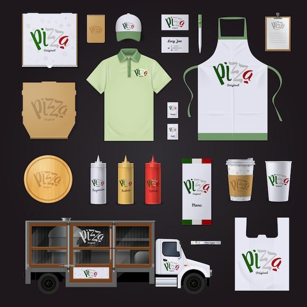 Modèles De L'identité D'entreprise De La Chaîne De Restaurants De Pizza Italienne Dans La Collection De Couleurs Du Drapeau National Vecteur gratuit