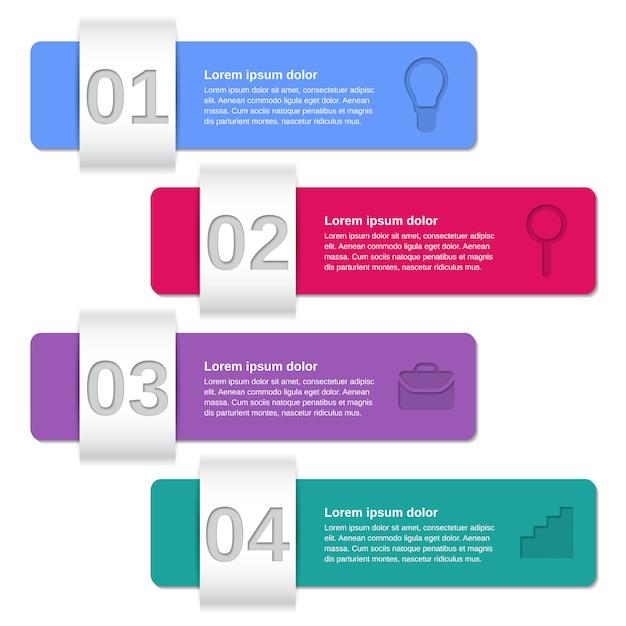 Modèles D'infographie En 4 étapes, Vecteur Premium