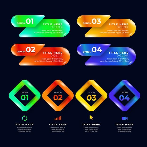 Modèles d'infographie coloré brillant et brillant réalistes Vecteur gratuit