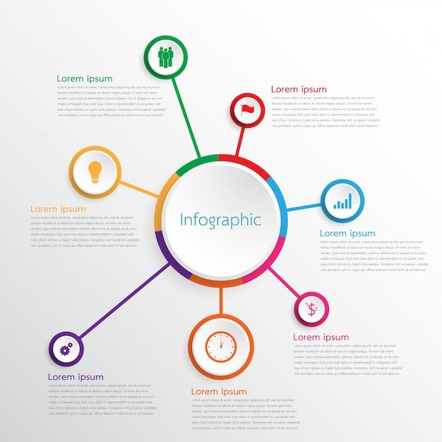 Modèles D'infographie Vectorielle Utilisés Pour Des Rapports Détaillés. Tous Les 7 Sujets. Vecteur Premium