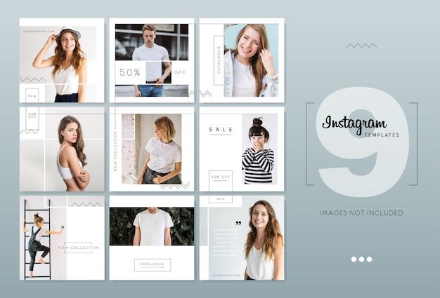 Modèles Instagram Blancs Minimalistes Délicats Vecteur Premium