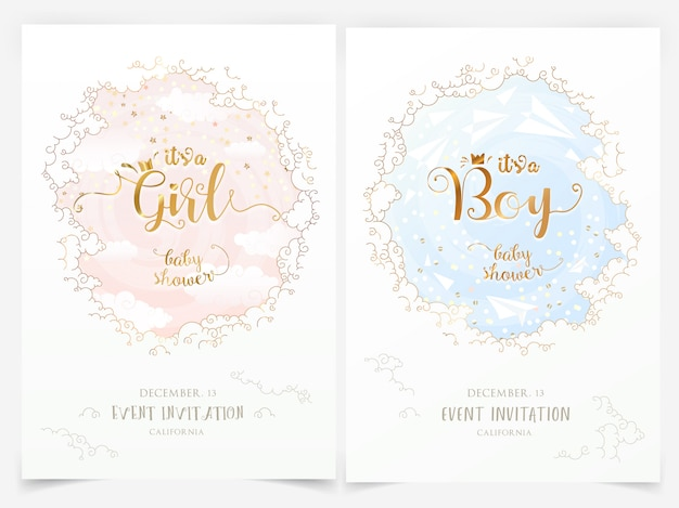 Modèles d'invitation de fête de naissance avec des nuages et c'est une fille, lettrage de garçon Vecteur Premium