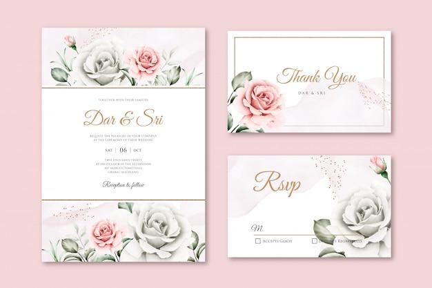 Modèles D'invitation De Mariage Floral Aquarelle Magnifique Vecteur Premium
