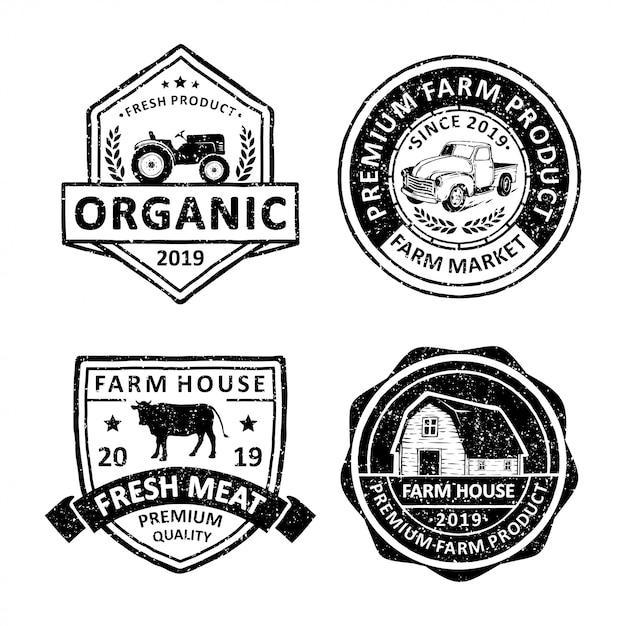 Les modèles de logo de l'agriculteur Vecteur Premium