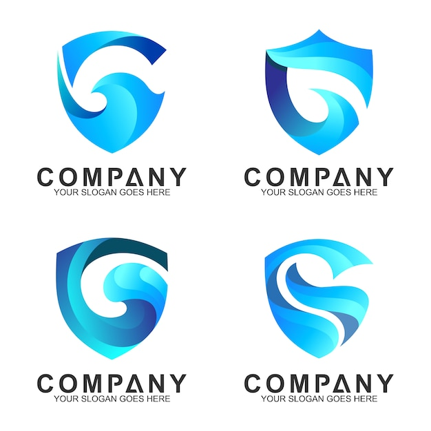 Modèles de logo de bouclier bleu Vecteur Premium