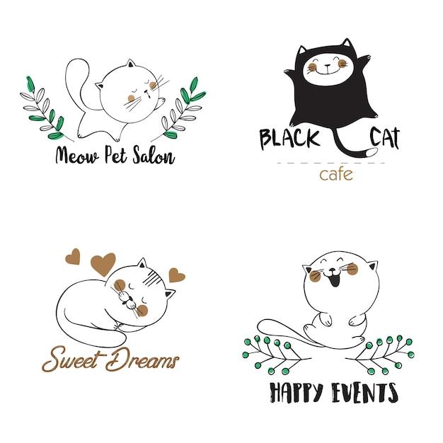 Modèles de logo avec des chats Vecteur Premium