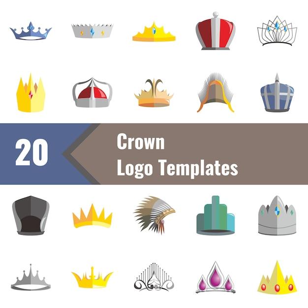 Modèles de logo de la couronne Vecteur Premium