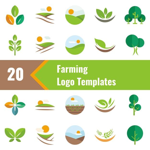 Modèles de logo d'élevage Vecteur Premium