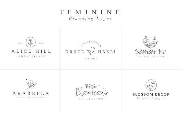 Modèles de logo floral. logos minimalistes de vecteur. logotypes élégants rustiques Vecteur Premium