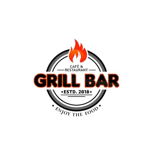 Modèles de logo hot grill Vecteur Premium